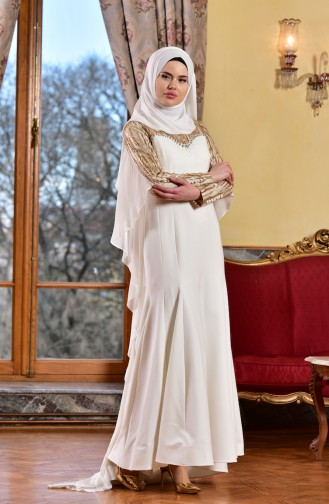 Ecru Islamic Clothing Evening Dress 1713210-02