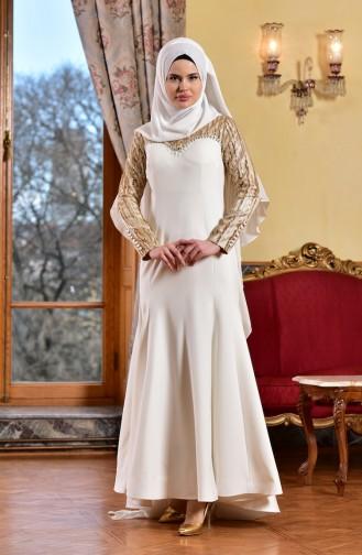 Robe de Soirée a Paillette 1713210-02 Ecru 1713210-02
