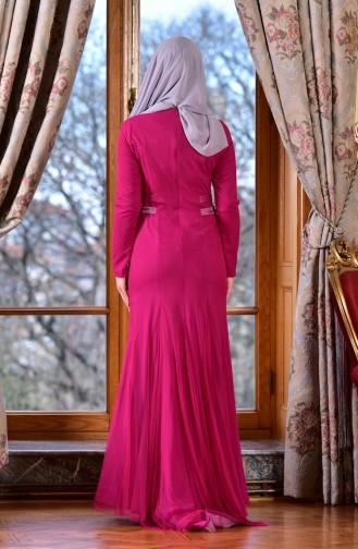 Bedrucktes Abendkleid 1613953-02 Fuchsia 1613953-02