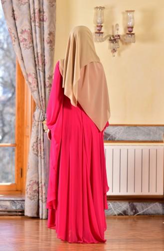 Robe de Soirée İmprimée de Pierre 1713188-01 Fushia 1713188-01