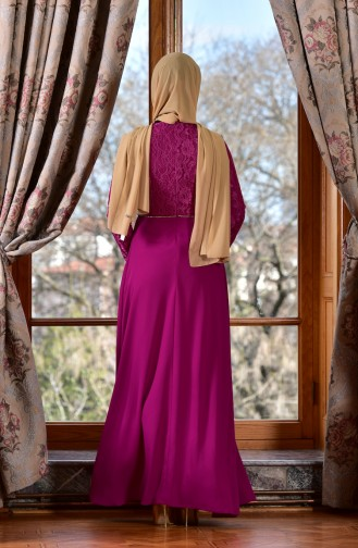Fuchsia Islamic Clothing Evening Dress 1713198-01