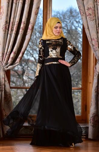 Gold Islamic Clothing Evening Dress 1713221-02
