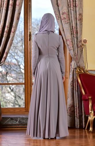 Abendkleid mit Perlen 8013-02 Grau 8013-02