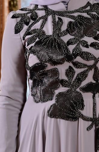 Robe de Soirée Bordée de Perles 8013-02 Gris 8013-02