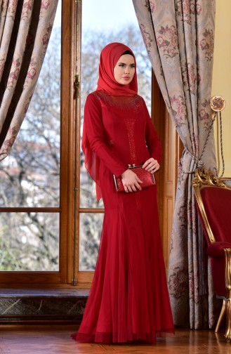 Robe de Soirée İmprimé de Pierre 1613953-01 Rouge 1613953-01