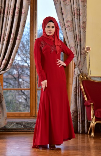 Red Islamic Clothing Evening Dress 1713182-04
