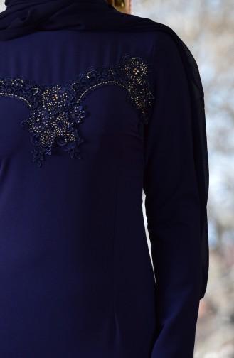 Robe de Soirée a Dentelle 1713182-03 Bleu Marine 1713182-03