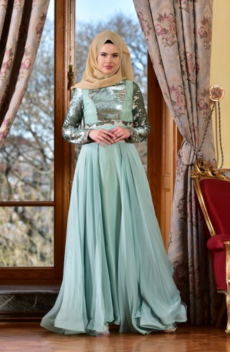 Mint green Islamic Clothing Evening Dress 1713221-03