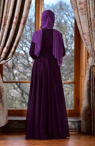 Purple Islamic Clothing Evening Dress 8000-03