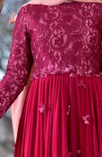 Robe de Soirée Détail Fleurs 1713204-03 Plum 1713204-03