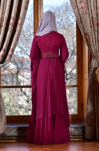 Robe de Soirée Perlées 1713217-02 Plum 1713217-02