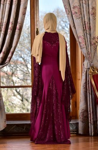 Robe de Soirée Perlées 1713197-07 Plum 1713197-07