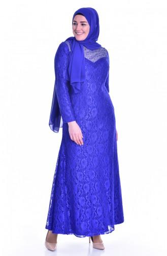 Robe de Soirée a Dentelle 1713185-02 Bleu Roi 1713185-02