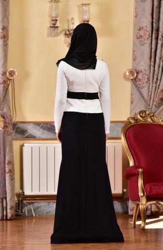 Robe de Soirée a Dentelle et Perles 1713223-03 Ecru Noir 1713223-03