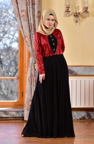 Robe de Soirée Paillette Mousseline 1713173-01 Rouge Noir 1713173-01