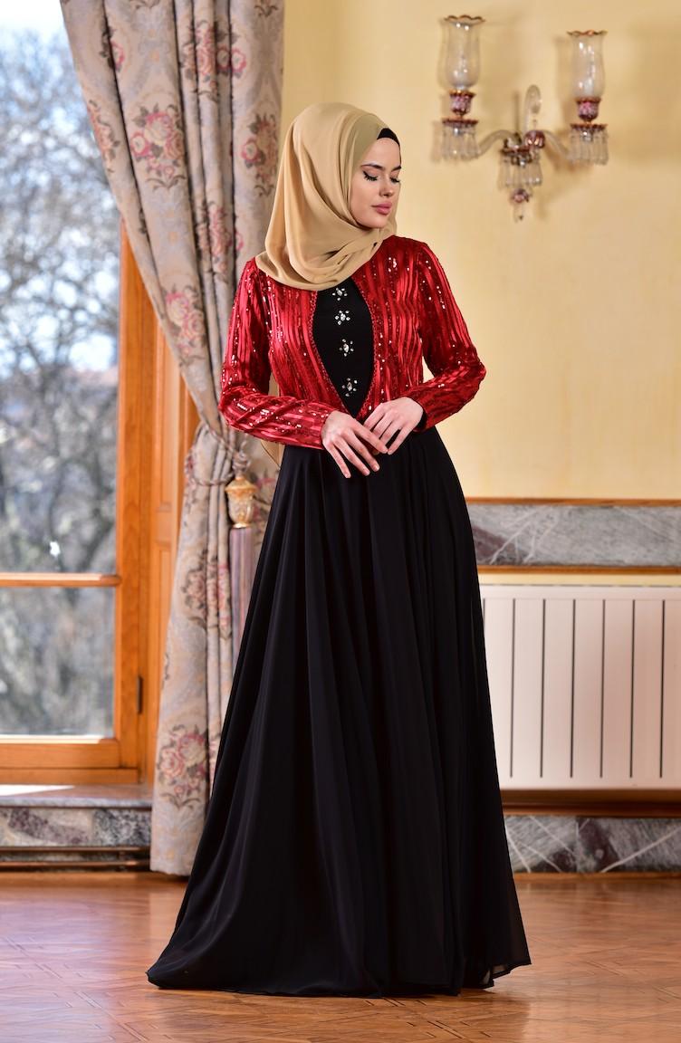 a63e9d871fac2 Payetli Şifon Abiye Elbise 1713173-01 Kırmızı Siyah