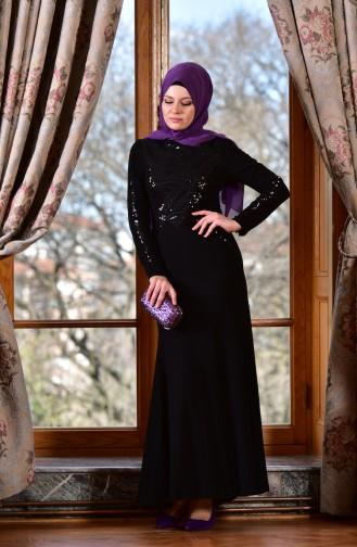 Black Islamic Clothing Evening Dress 1613943-02
