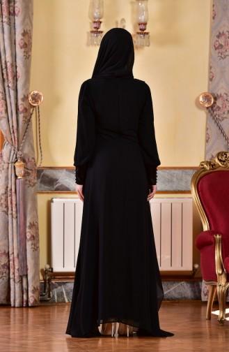 Robe de Soirée Asymétrique avec Pierre 1713201-01 Noir 1713201-01