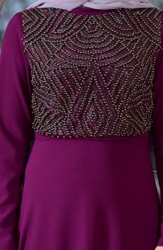 Robe de Soirée Perlées 1713299-01 Plum 1713299-01