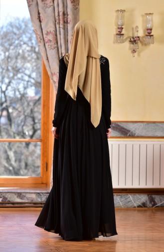 Robe de Soirée Lacée en Mousseline 8000-04 Noir 8000-04
