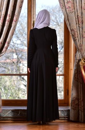 Robe de Soirée Bordée de Perles 8013-01 Noir 8013-01