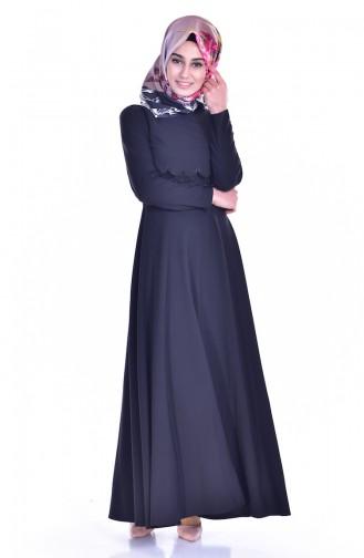 Laser Cut Ruched Dress 8117-03 Black 8117-03