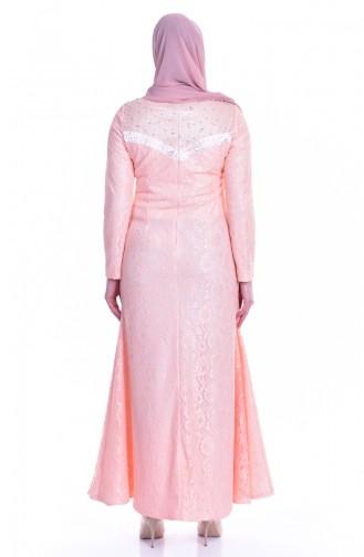 Salmon Islamic Clothing Evening Dress 1713185-04