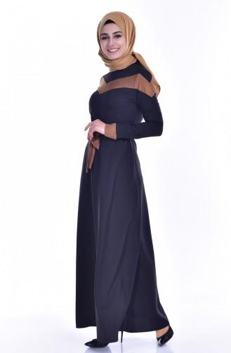 Garnili Elbise 0624-01 Siyah