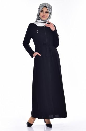 Abaya a Fermeture et Capuche 2516-01 Noir 2516-01
