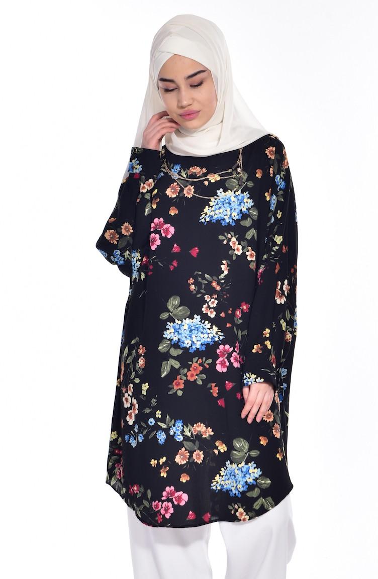 eb0c84a4fe318 Çiçek Desenli Yarasa Kol Tunik 0768-01 Siyah
