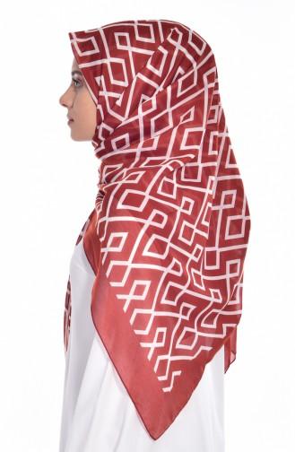 Geometric Patterned Scarf 60057-13 Ecru Red 13