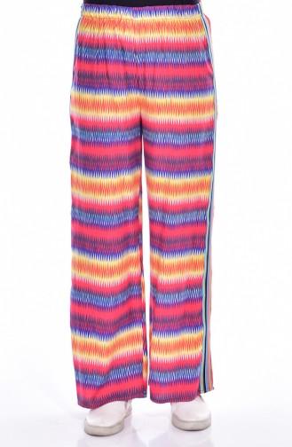 Pantalon Large a Rayure 218163-03 Rouge Bleu Roi 218163-03