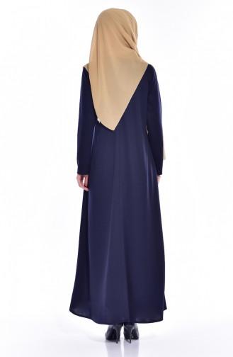 Püskül Detaylı Elbise 1068-02 Lacivert 1068-02
