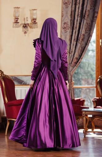 فستان بتفاصيل مُطرزة بأحجار لامعة 701210-03 لون بنفسجي 701210-03