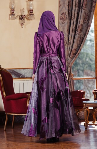 Tulle Taffeta Evening Dress 701236-01 Purple 701236-01