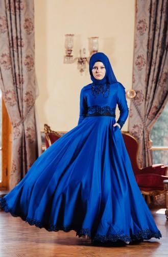 Robe de Soirée avec Pierre 701224-01 Bleu Roi 701224-01