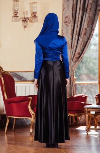 Robe de Soirée Plissée 701083-02 Bleu Roi Noir 701083-02