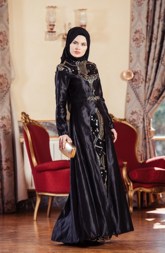 Black Islamic Clothing Evening Dress 52679-01