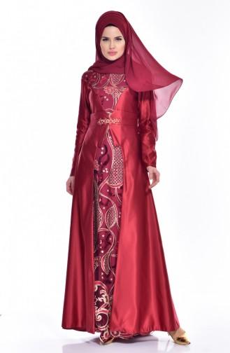 Claret red İslamitische Avondjurk 52679-02