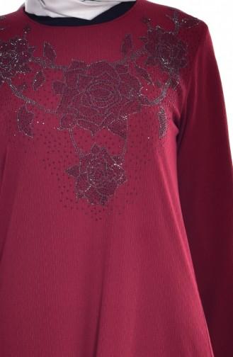 Robe İmprimée de Pierre 0151-03 Bordeaux 0151-03