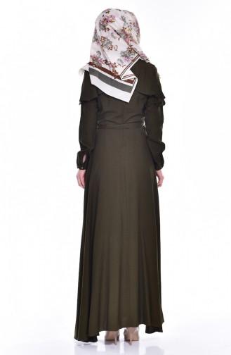 Kleid mit Volants 2036-04 Khaki 2036-04