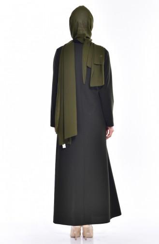 Robe İmprimée de Pierre 0151-07 Khaki 0151-07