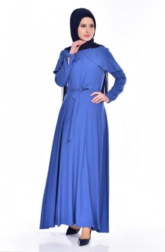 Kleid mit Volants 2036-03 İndigo 2036-03