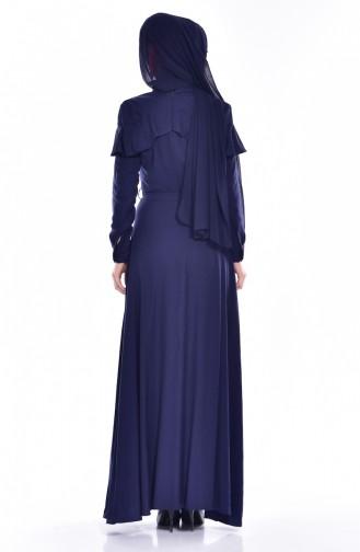 Kleid mit Volants 2036-02 Dunkelblau 2036-02