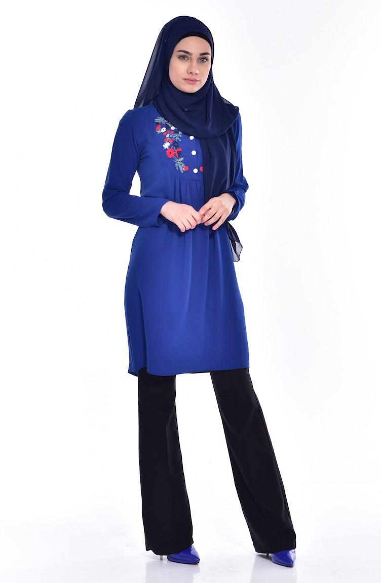 Oil Blue Tunic 3731 06 Shoes With Embroider 12 Inchi