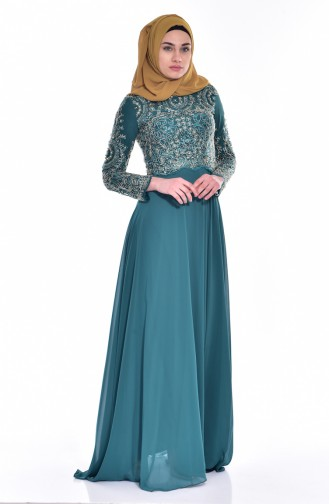 Geschnürtes Abendkleid  7203-01 Smaragdgrün 7203-01