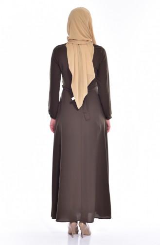 Kolyeli Kuşaklı Elbise 8138-04 Haki