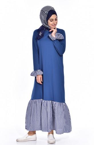 فستان بتصميم سادة مع تفاصيل مربعات  3302-01