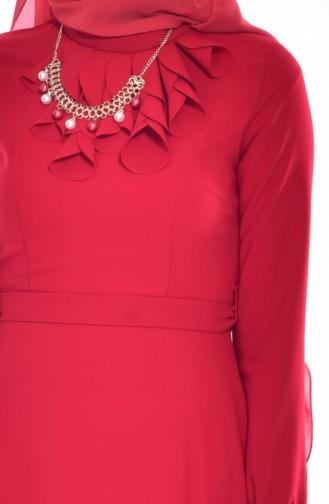 Kleid mit Halskette 8138-01 Rot 8138-01