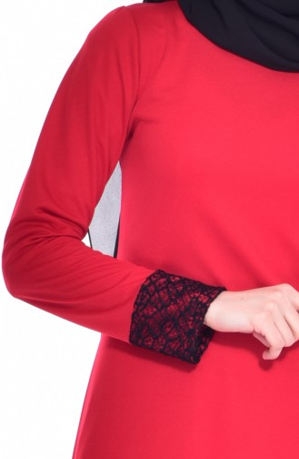 Robe Détail Filet 3306-02 Rouge 3306-02